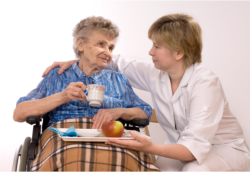 caregiver giving meal to her patient